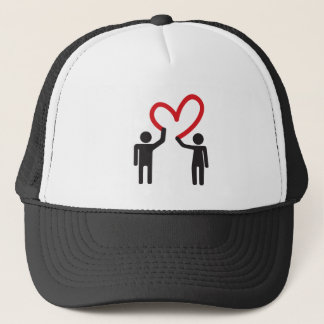 couple in love drawing heart together trucker hat