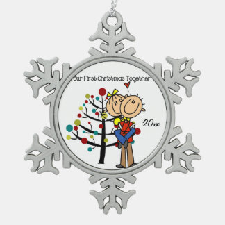 Couple in Love First Christmas Snowflake Ornament