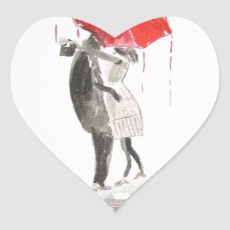 Couple in love kissing heart sticker
