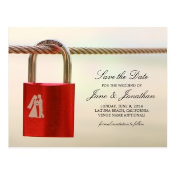 Couple in Love on Lock Wedding Save the Date Post Cards