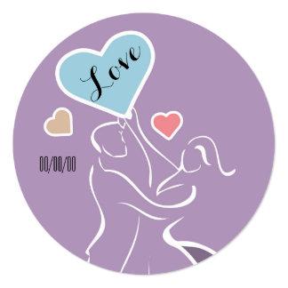 Couple in Love Round Invitations
