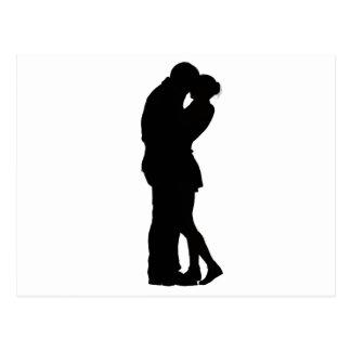 Couple in Love Silhouette embracing hug intimacy Postcard