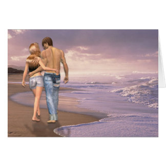 Couple in Love Walking on Beach into the Sunset Card