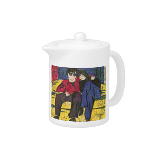 Couple in Love Woodcut Blue Red Yellow Tea Pot