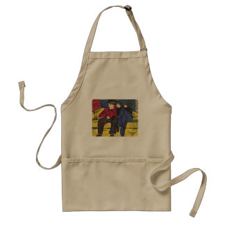 Couple in Love Woodcut Print Apron
