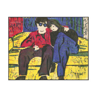Couple in Love Woodcut Print Blue Red Yellow 14x11