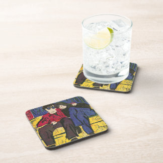 Couple in Love Woodcut Print Blue Red Yellow Beverage Coaster