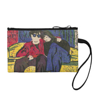 Couple in Love Woodcut Print Blue Red Yellow Coin Purse