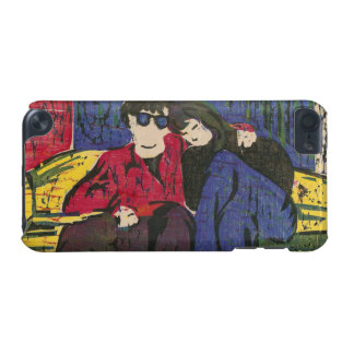 Couple in Love Woodcut Print Blue Red Yellow iPod Touch 5G Case