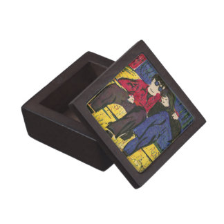 Couple in Love Woodcut Print Blue Red Yellow Jewelry Box