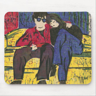 Couple in Love Woodcut Print Blue Red Yellow Mouse Pad