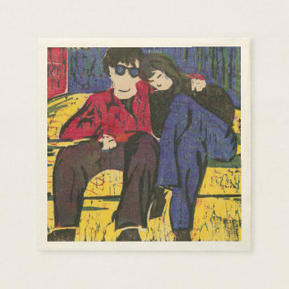 Couple in Love Woodcut Print Blue Red Yellow Napkin