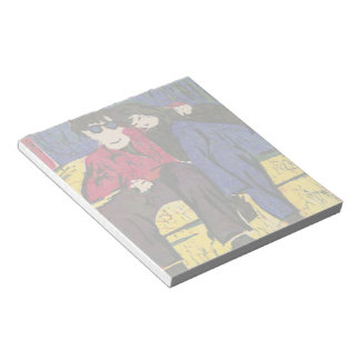 Couple in Love Woodcut Print Blue Red Yellow Notepad