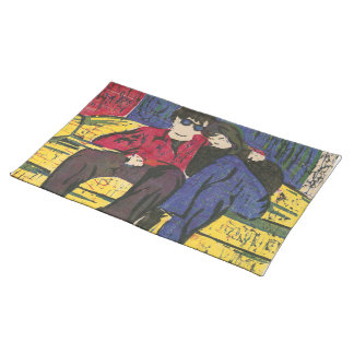 Couple in Love Woodcut Print Blue Red Yellow Placemat