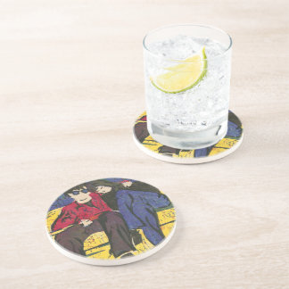 Couple in Love Woodcut Print Drink Coaster