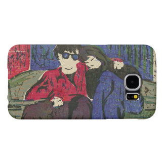 Couple in Love Woodcut Print Green Blue Red Samsung Galaxy S6 Case