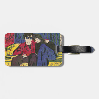 Couple in Love Woodcut Print Bag Tags