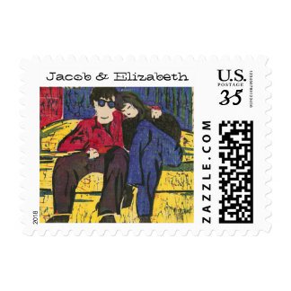 Couple in Love Woodcut Print Postage