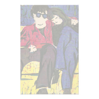 Couple in Love Woodcut Print Stationery