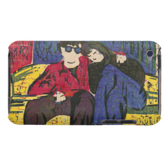 Couple in Love Woodcut Print Yellow Blue Red Barely There iPod Case
