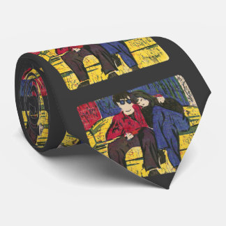 Couple in Love Woodcut Print Yellow Blue Red Black Tie