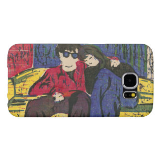 Couple in Love Woodcut Print Yellow Blue Red Samsung Galaxy S6 Case