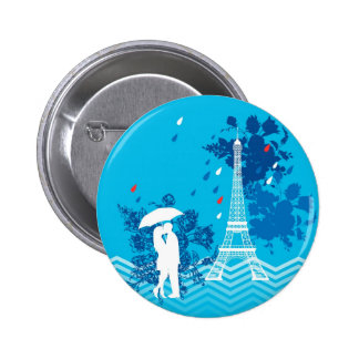 Couple in Paris with Eiffle Tower Pinback Button