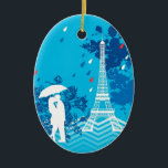 "Couple in Paris with Eiffle Tower Ceramic Ornament<br><div class=""desc"">This modern and eye-catching design is ideal for someone that loves Paris and the Eiffel Tower. It features a loving couple under an umbrella with the Eiffel Tower to the side and a few rain drops. This makes a perfect gift for a couple that just got engaged, got married or...</div>"