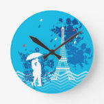 Couple in Paris with Eiffle Tower Round Wall Clocks