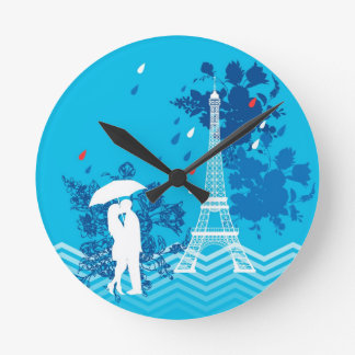 Couple in Paris with Eiffle Tower Wallclock