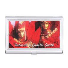 Couple in Red Costumes at The Carnival of Venice Case For Business Cards