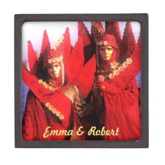 Couple in Red Costumes at The Carnival of Venice Jewelry Box
