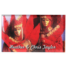 Couple in Red Costumes at The Carnival of Venice Table Number Holder
