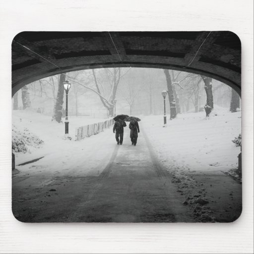 Couple in Snowstorm, Central Park Mouse Pad