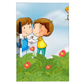 Couple in the garden with Mr. cupid Dry-Erase Board