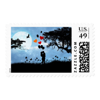 Couple in the Moonlight Valentines Day Stamp