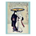 Couple in the snow by Suzuki,Harunobu Postcard