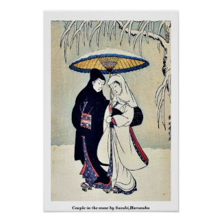 Couple in the snow by Suzuki,Harunobu Poster