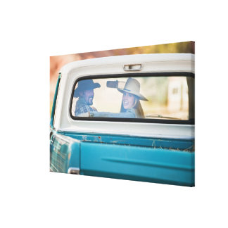 Couple in truck canvas print