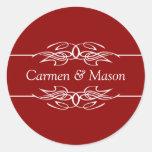 Couple Invitations Dark Red Sticker