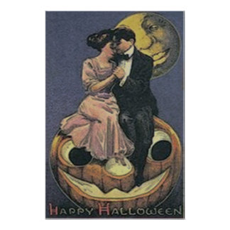 Couple Jack O Lantern Man In The Moon Poster