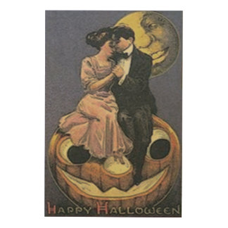 Couple Jack O Lantern Man In The Moon Wood Wall Art