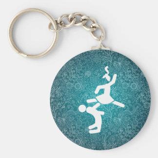 Couple Karates Pictogram Basic Round Button Keychain