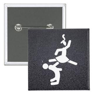 Couple Karates Pictogram 2 Inch Square Button