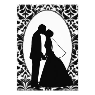 Couple Kiss & Black Damask Invitations