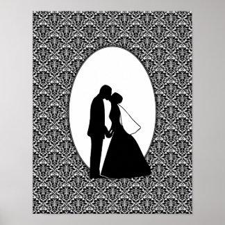 Couple Kiss & Black Damasks Value Poster Paper