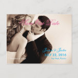 Couple Kiss Wedding Sepia/Save The Date Announcement Postcard