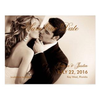 Couple Kiss Wedding Sepia/Save The Date Postcard