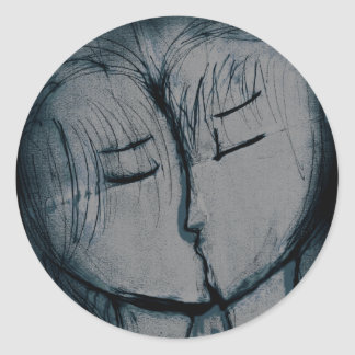 couple kissing, romantic classic round sticker