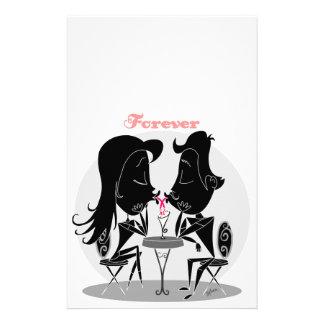 Couple kissing sharing milkshake forever love stationery paper